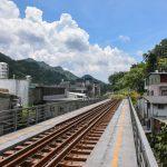 Železniční trať procházející středem vesničky Pingxi