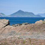 Skalní útesy v severní oblasti Yilan a výhled na Želví ostrov