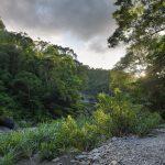 Odpočinek v přírodě u divoké řeky v oblasti Pinglin